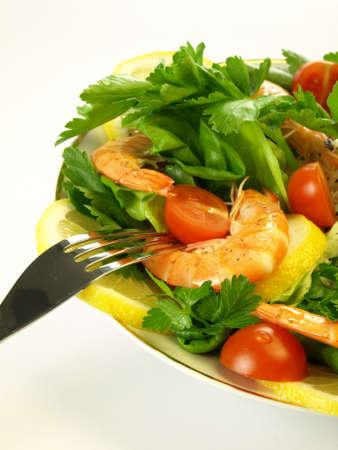 seafish: Light vegetarian dinner with seafish Stock Photo