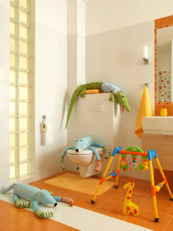 Children toilet full of colorful soft toy in a modern house.  photo