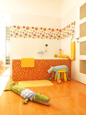 Colorful bathroom with soft toys.  photo