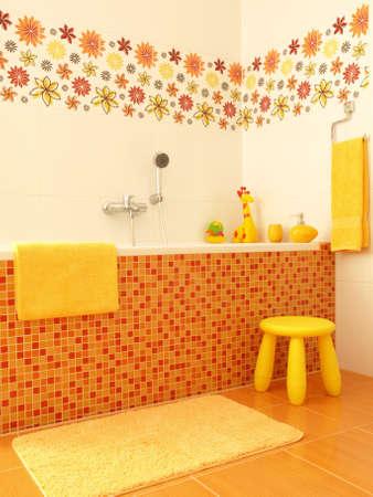 Mosaic bathtub with flower decors for children photo
