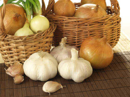 onion peel: Two baskets filled with healthy vegetables