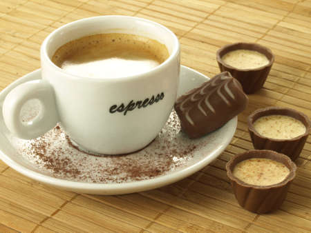 praline: Coffe with appetizing pralines