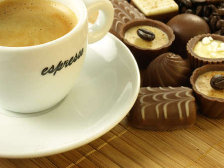 praline: Coffe with delicious pralines
