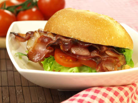 Delicious sandwich with bacon for a dinner photo