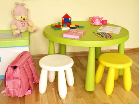 Small sweet and colorful furniture in child room photo