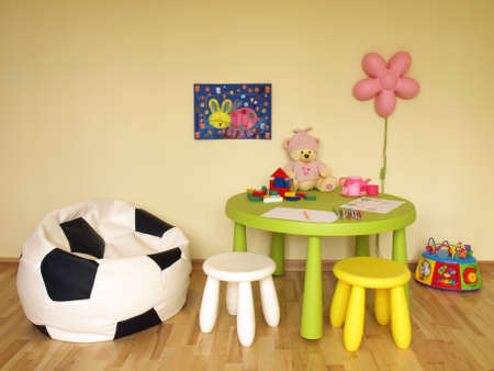 Modern interior of colorful room for child photo