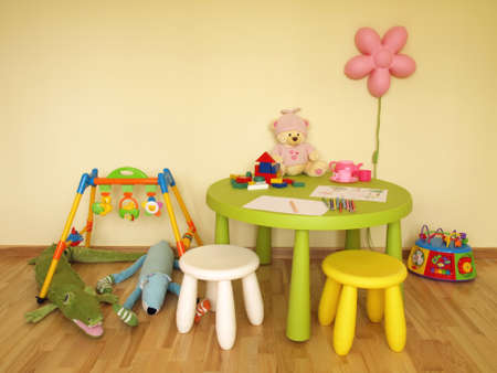 Детская комната с красочным стол, табуретки и игрушки