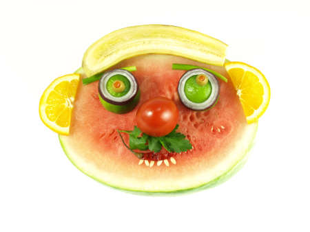 fruity: Watermelon, orange slices, banana and vegetables, isolated