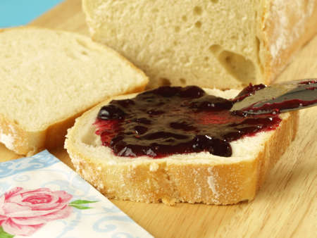 Breakfast sandwich with cherry jam photo