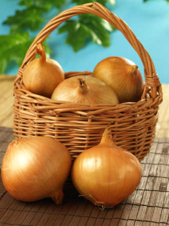 close up of onions in a basket: Organic onions from the garden
