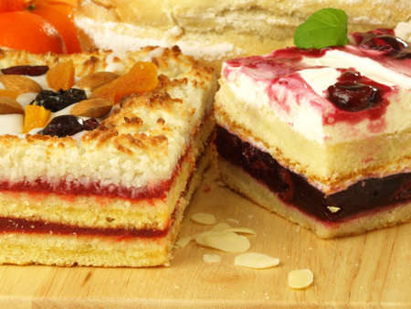 Delicious fruit cakes for dessert photo