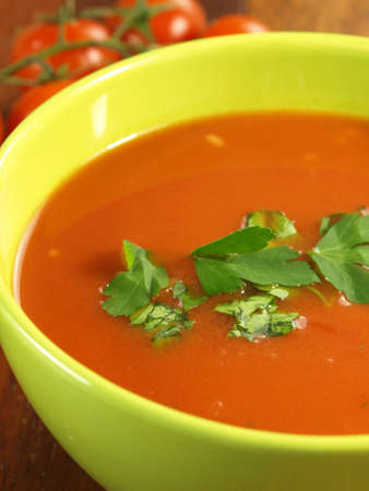 Closeup of appetizing tomato soup with parsley Stock Photo - 13211591