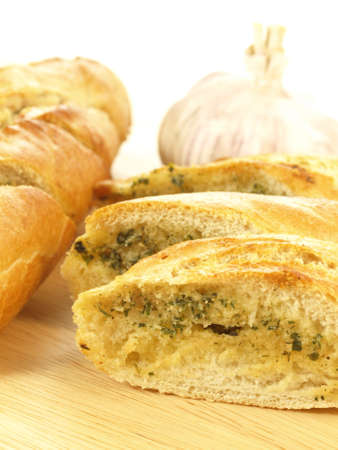 Closeup of delicious baguette with garlic photo