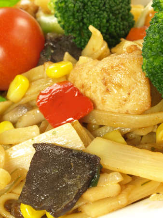 Pasta with chicken breast and vegetables, close up Stock Photo - 13211649