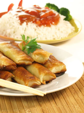 Fried Chinese traditional spring rolls photo