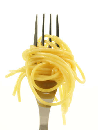 pasta fork: Spaghetti noodles on fork on isolated background