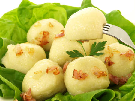 greaves: Closeup of homemade dumplings with stuffing and greaves Stock Photo