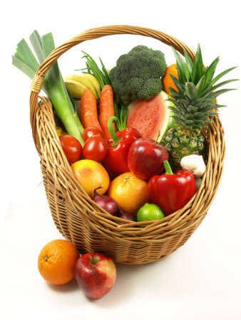Combination ofe different fruits and vegetables in basket photo