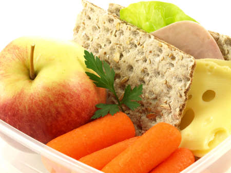 Healthy breakfast served in the lunch box photo