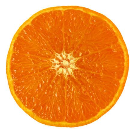 Cut juicy orange on isolated white background photo