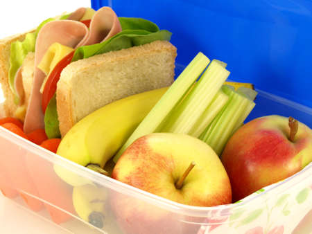 Closeup of box with healthy takeaway meal     photo
