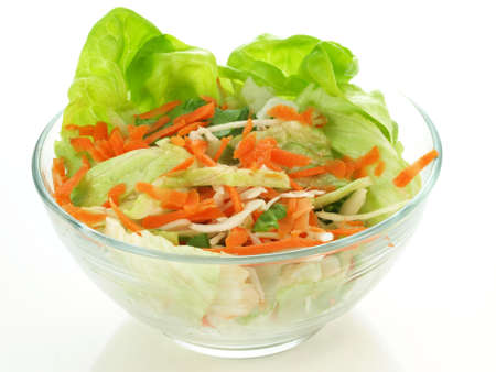 grated: Light vegetable salad on white isolated background