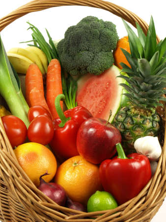 fruits in a basket: Vegetable and fruit is a healthy lifestyle