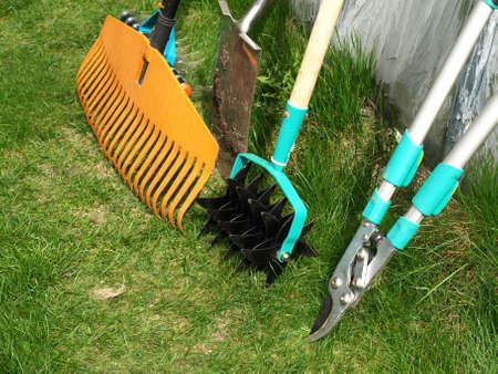Ordinaire Various Garden Tools: Shears, Rake,aerator And Spade Stock Photo, Picture  And Royalty Free Image. Image 13390235.