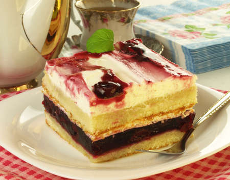 Piece of cake with cherries photo