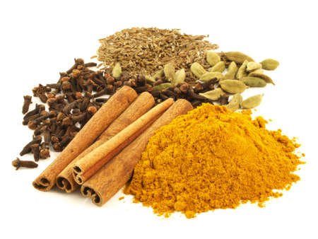Various of aromatic spices on isolated background photo