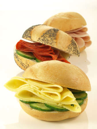 ham and cheese: Sandwiches with ham, cheese and vegetables, isolated