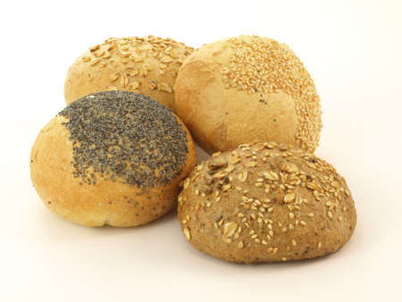 Different types of rolls with grains and poppy seed photo