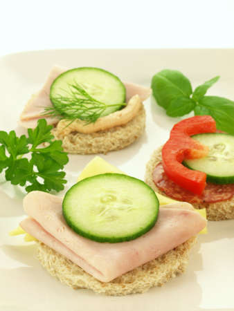 Close up of roud sandwiches for party photo