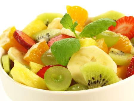 Closeup of fruit salad on isolated background