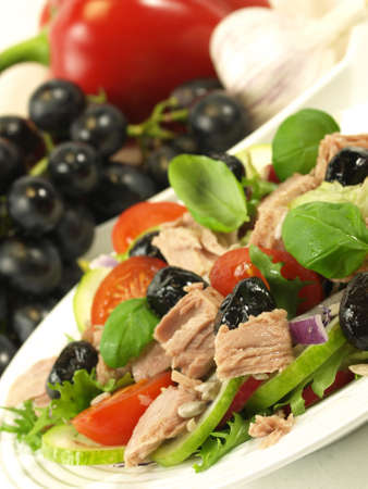 lowfat: Low-fat salad composed with black olives and grapes.