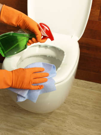 Bathroom cleaning: wiping toilet seat with rubber and spray photo