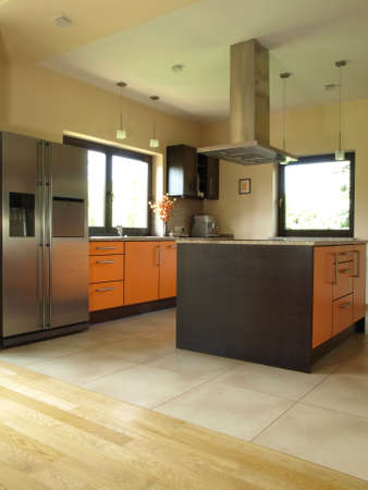 Brown and orange kitchen in modern style Stock Photo - 13871880