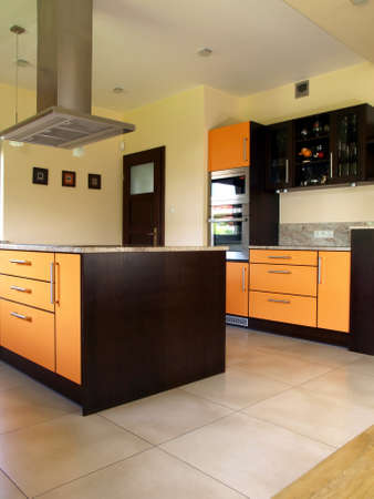Interior of luxury new and modern kitchen  photo