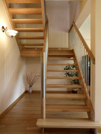 Modern metal and wooden staircase photo