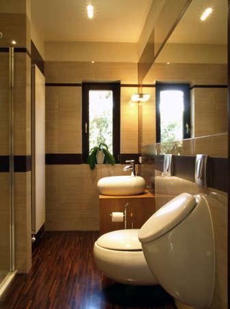 vessel sink: Interior del cuarto de ba�o moderno Foto de archivo