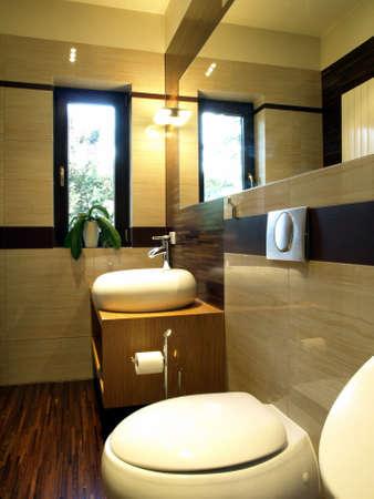 en suite: Inside of fashionable bathroom: toilet and sink