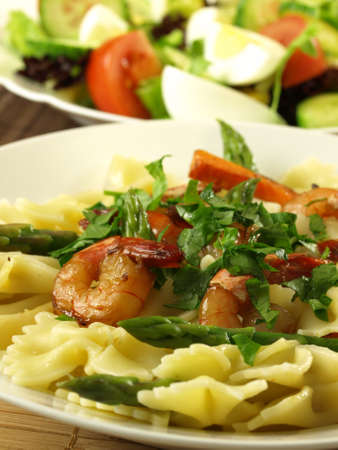 additions: Tasty dish with pasta,shrimps and additions