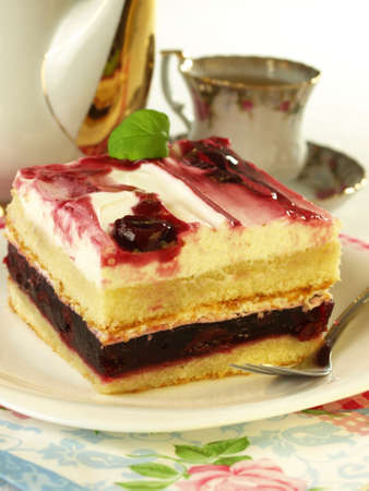 Closeup of sweet cherry cake photo