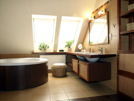 Интерьер роскошный batroom на чердаке