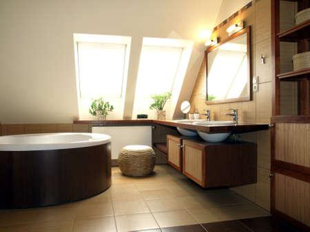 Inter of luxuus batroom in the attic Stock Photo - 13882915