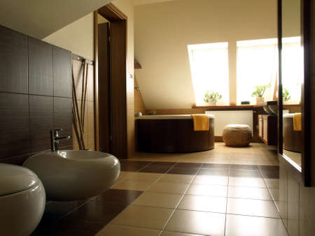 Inside of luxury modern and spacious bathroom photo