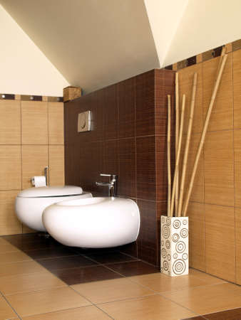 well equipped: Toilet and bidet in modern bamboo bathroom