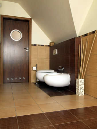 Inside of modern and luxury bathroom, vertical photo