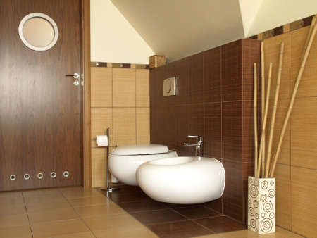 Inside of new designed bathroom, toilet and bidet photo