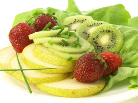 Dietary fruity snack  kiwi, strawberries and pear photo